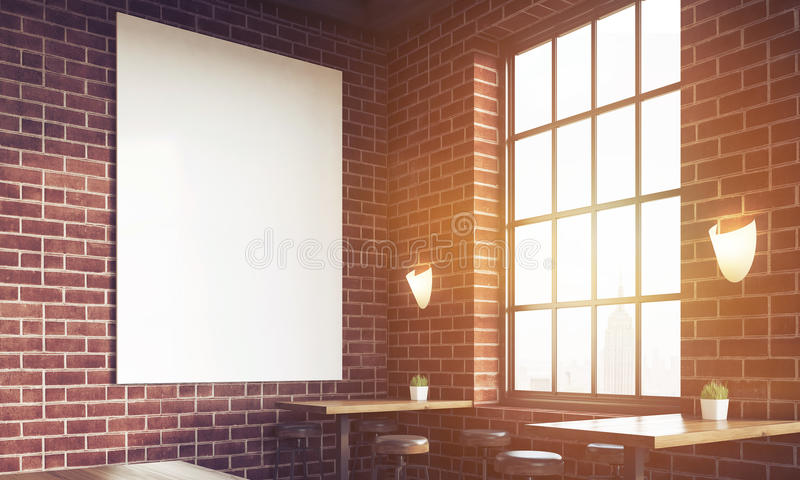 Close up of sunlit bar with poster and large windows. Close up of sunlit bar interior with stools, tables and large vertical poster on brick wall. Concept of pub stock illustration