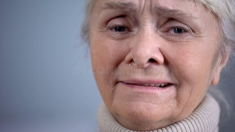 Close up superior de grito da senhora, problema de saúde, solidão da idade avançada, depressão imagem de stock