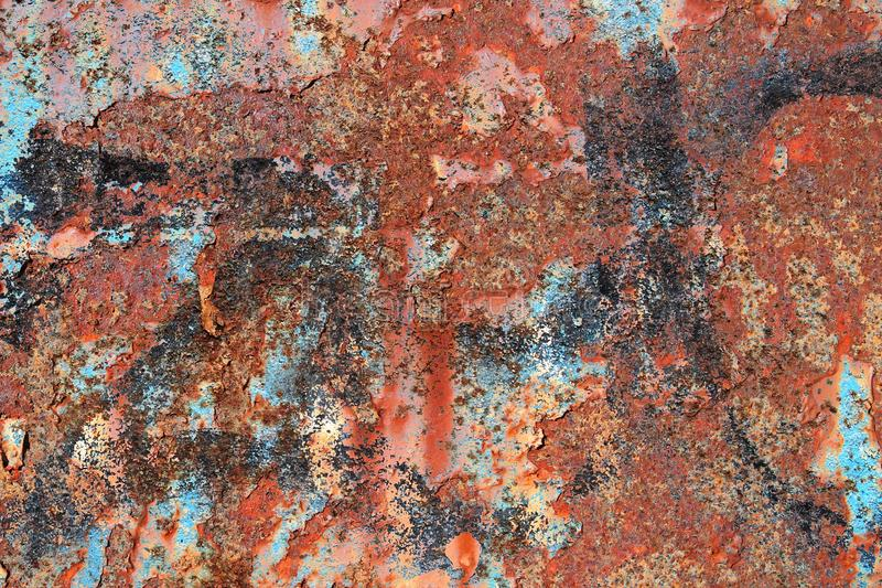 Close up surface of aged and weathered rusty metal surfaces in high resolution. Captured in germany stock photography