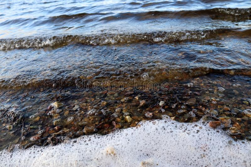 Close up surface of water waves and rings at the beach. And the coast of northern german lakes and the baltic sea royalty free stock photos