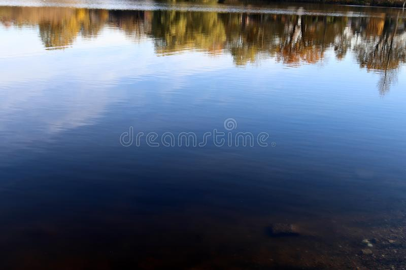 Close up surface of water waves and rings at the beach. And the coast of northern german lakes and the baltic sea stock photo