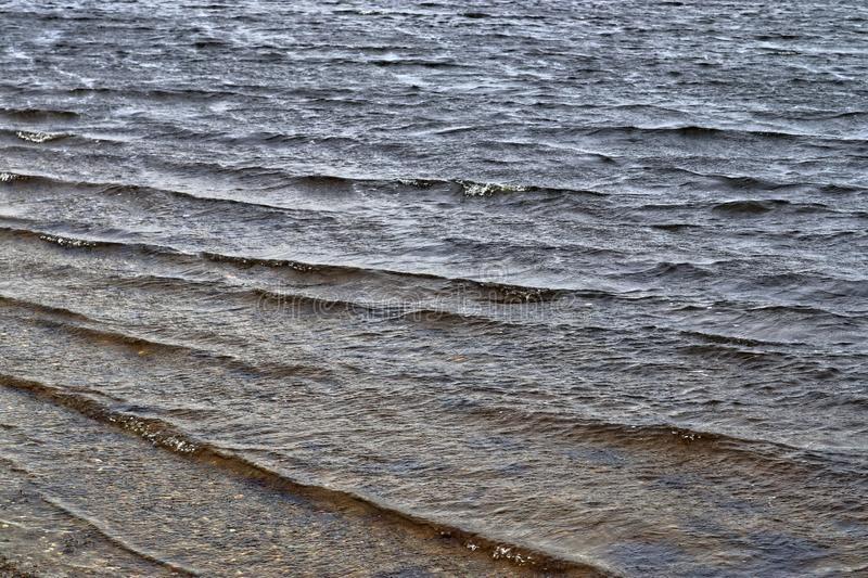 Close up surface of water waves and water reflections. Close up surface of water waves and rings at the beach and the coast of northern german lakes and the stock image