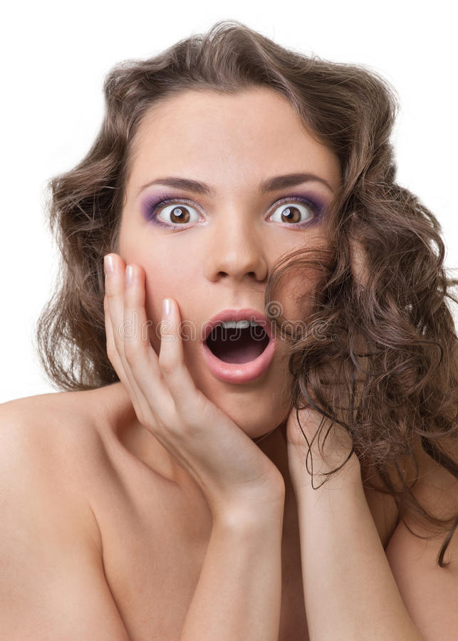 Close-up of surprised beautiful young woman stock image