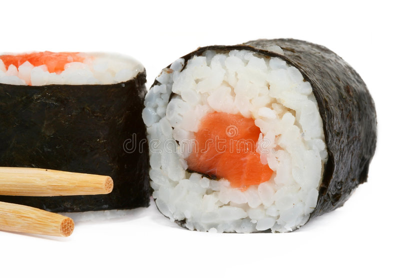 Close-up of sushi and chopsticks royalty free stock photo
