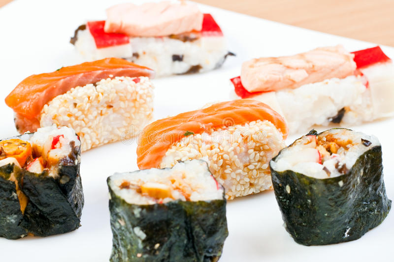 Close-up of sushi rolls royalty free stock photos