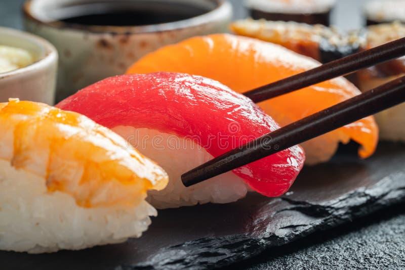 Sushi set of salmon, tuna and smoked eel. stock photos