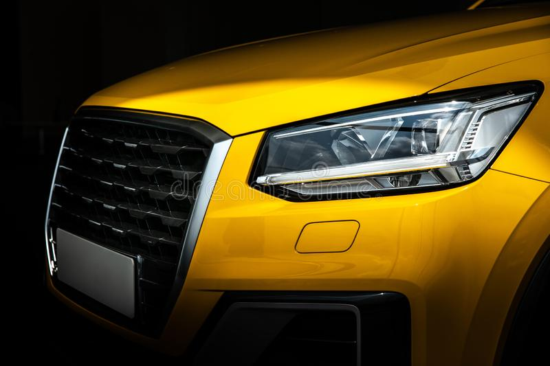 Close-up SUV car with sport and modern design. Environmentally friendly technology. Business success concept. Close-up SUV car with sport and modern design royalty free stock image