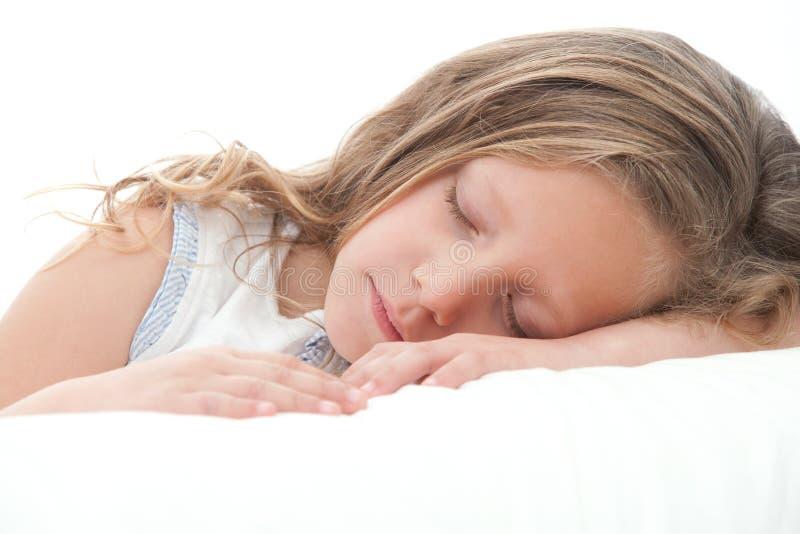 Close up of sweet girl sleeping. stock photo