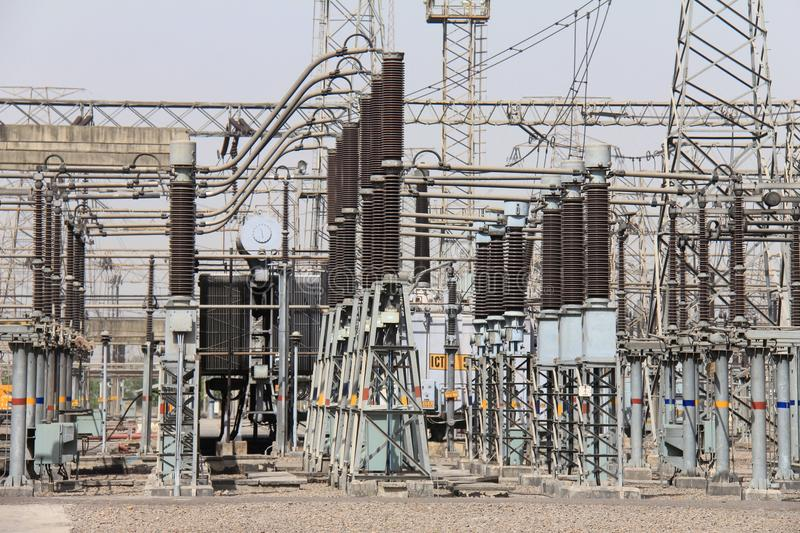 Close up of Switch yard of a thermal power plant stock photography