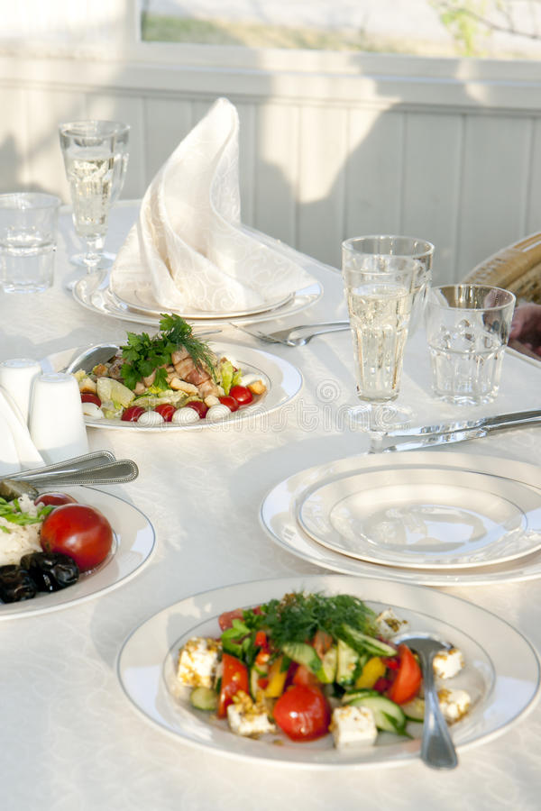 Close-up table set stock images