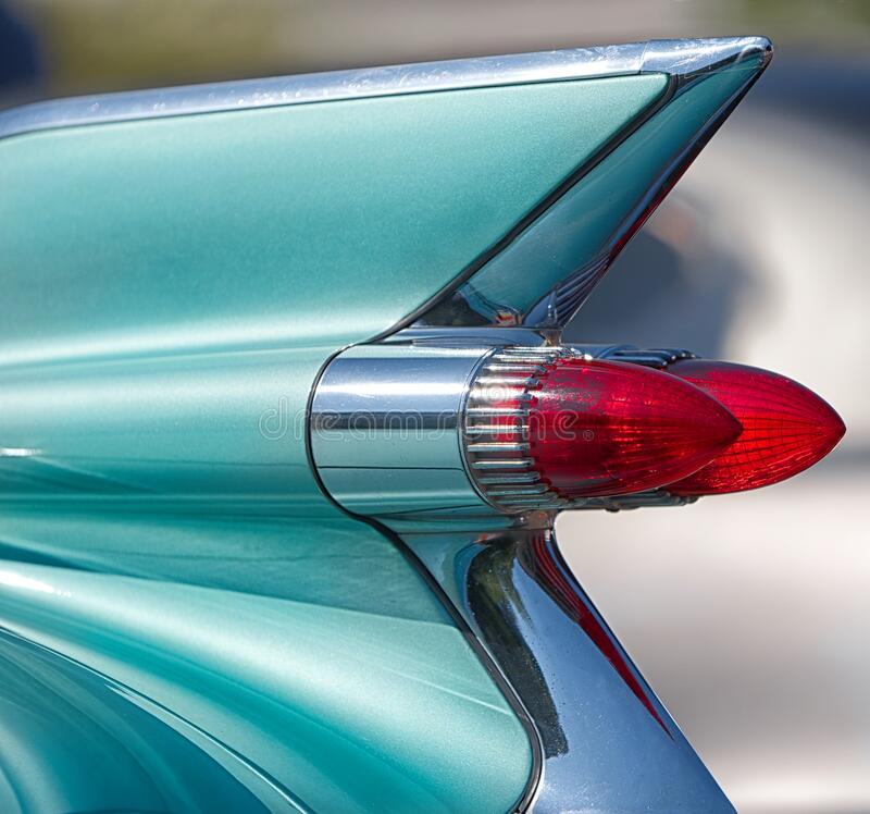 Free Close Up, Tail Fin And Lights Of American Classic Car. Stock Images - 194958084