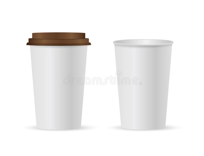 Close up take-out coffee with brown cap and cup holder. Isolated on white background. Vector Illustration vector illustration