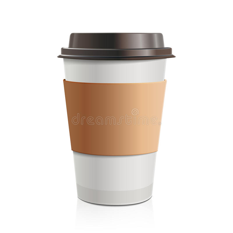 Close up take-out coffee with brown cap and cup holder. on white background. vector illustration
