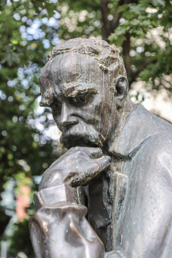Close-up of Taras Shevchenko monument on Sevcsenko square in Budapest, Hungary. Taras Shevchenko Monument on Sevcsenko ter in Budapest, Hungary stock photo
