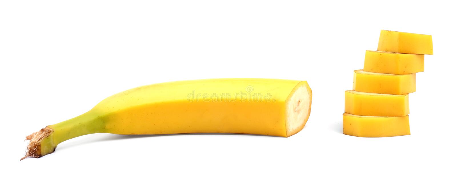 Close-up of a tasty, fresh, organic, ripe banana, isolated on white background. Delicious sweet and ripe banana. Tropical fruits. royalty free stock photos
