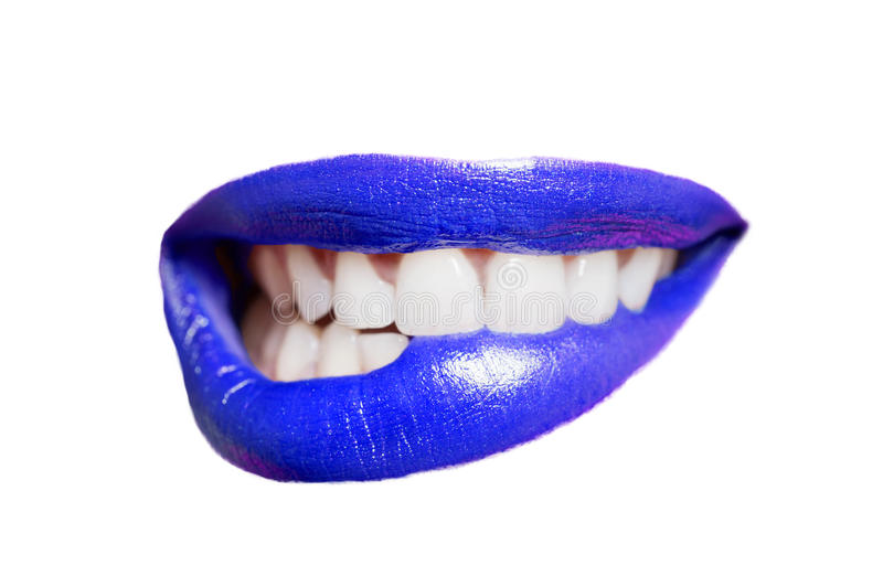 Download Close-up Of Teeth Biting Blue Lip Over White Background Stock Photo - Image of expression, health: 35900448