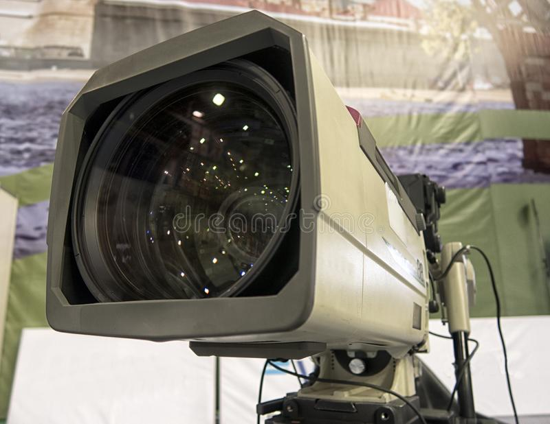 Close-up television camera at sports competitions, TV broadcasting. TV camera for broadcast at sports competitions royalty free stock photo
