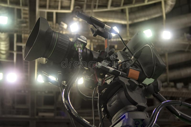 Close-up television camera at sports competitions, TV broadcasting. TV camera for broadcast at sports competitions stock photography