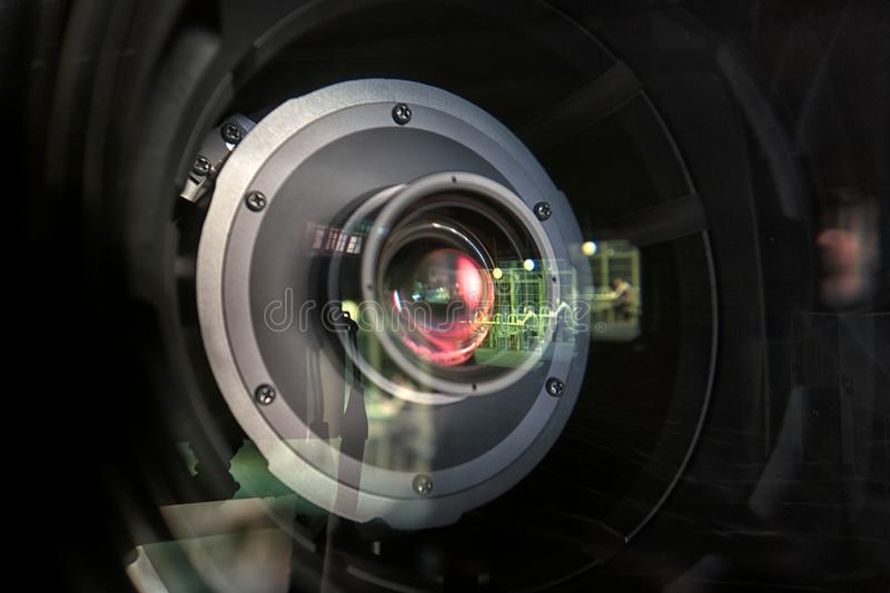 Close up of a television lens  on a dark background stock images