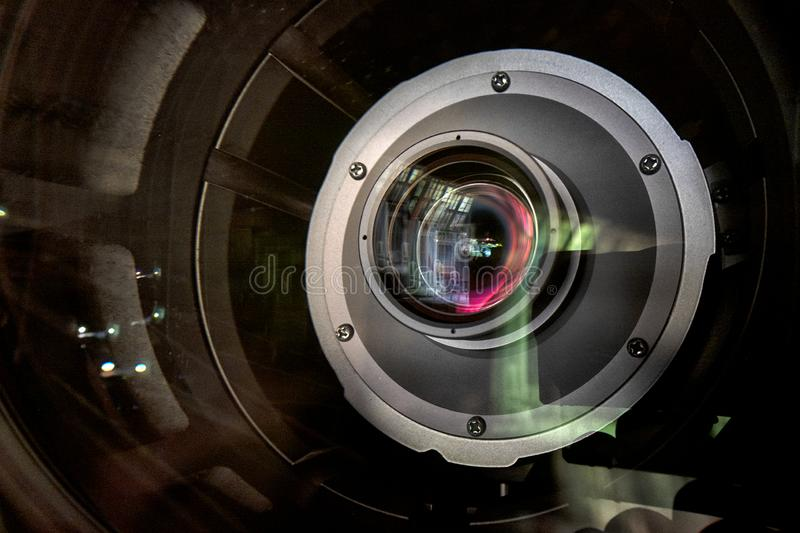 Close up of a television lens  on a dark background stock photos