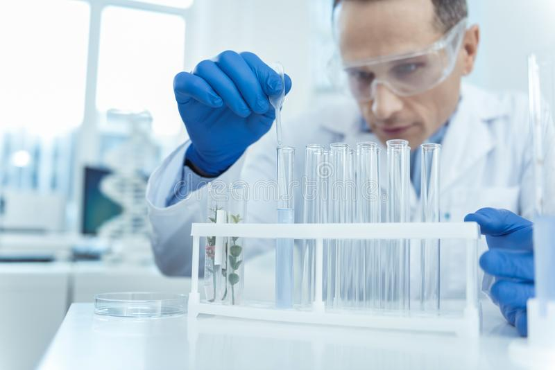 Close up of test tubes in a lab stock image