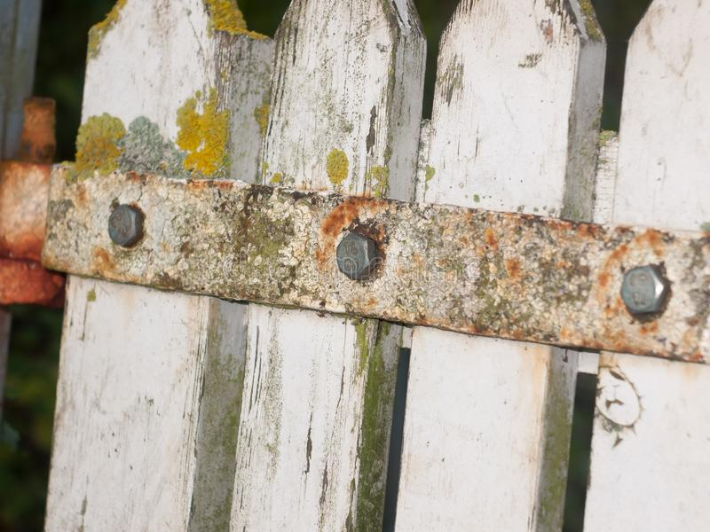 Close up texture of metal rusted decaying country gate stock photos