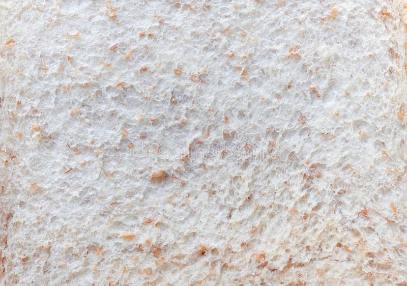 Close-up texture of Sliced white whole wheat bread background abstract pattern. Detail texture of pattern with free space copy stock photography