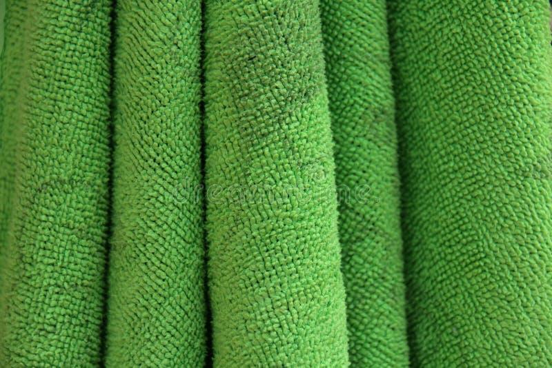 Close up texure green fabric of hand towel. stock photos