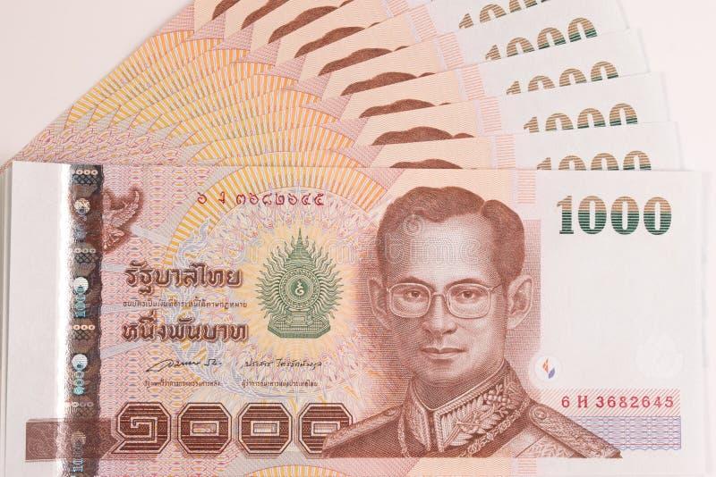 Close up of Thai banknote, Thai bath banknote with the image of Thai King Bhumibol Adulyadej. stock photo