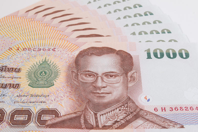 Close up of Thai banknote, Thai bath banknote with the image of Thai King Bhumibol Adulyadej. stock images
