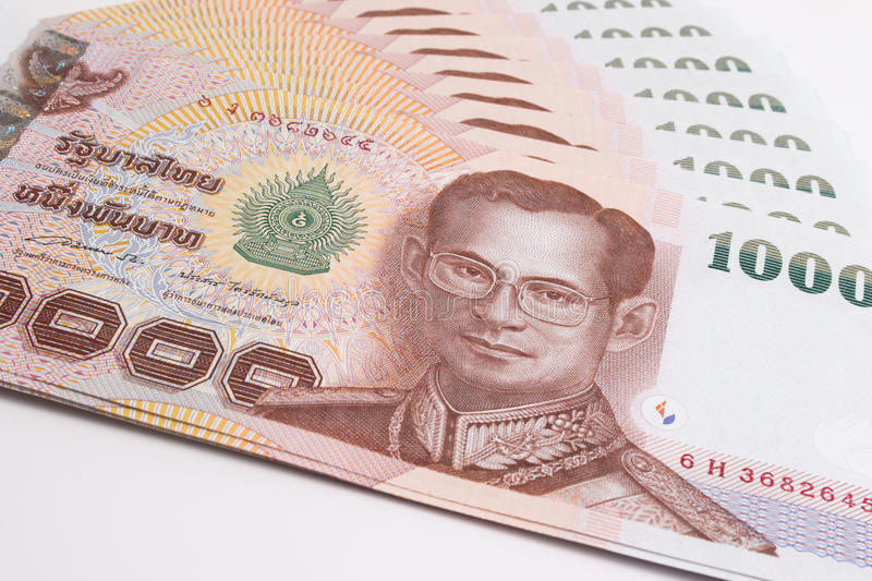 Close up of Thai banknote, Thai bath banknote with the image of Thai King Bhumibol Adulyadej. royalty free stock photography