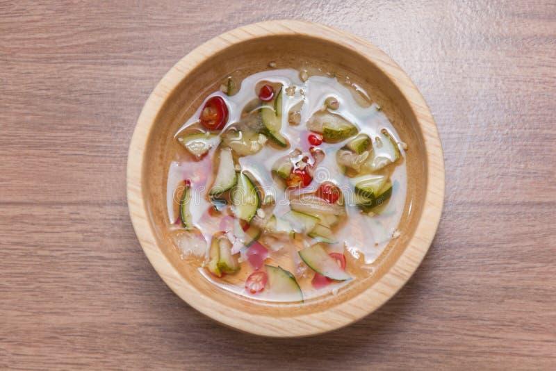 Thai Cucumber Relish sauce. Close up of Thai Cucumber Relish sauce stock photos