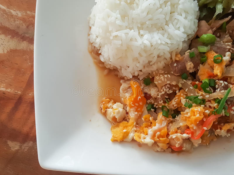 Close-up,Thai food style:& x22;Kaow Moo Tun Pad Thai& x22;fied pork,egg stock photography