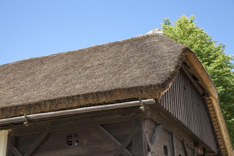 Close up of thatched roof royalty free stock photos
