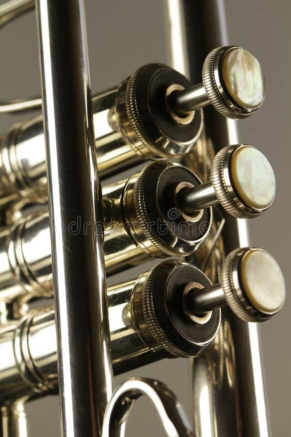 Close up of three finger buttons of trumpet royalty free stock photography