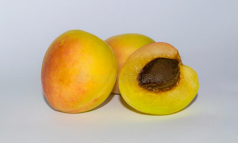 Close up of three fresh organic apricot on a white backgrpund stock photo