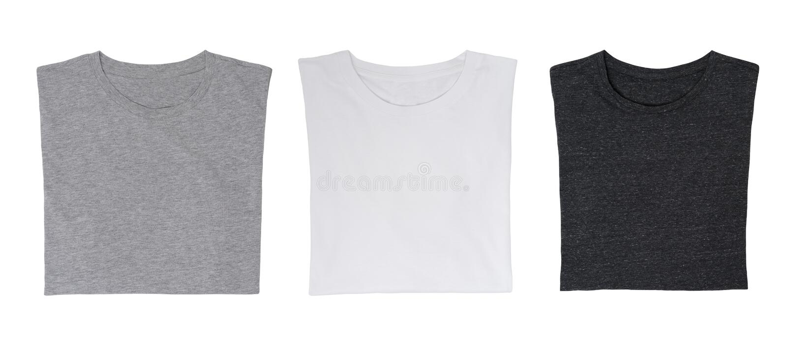Close-up of the three t-shirts (black, white and grey). royalty free stock photo