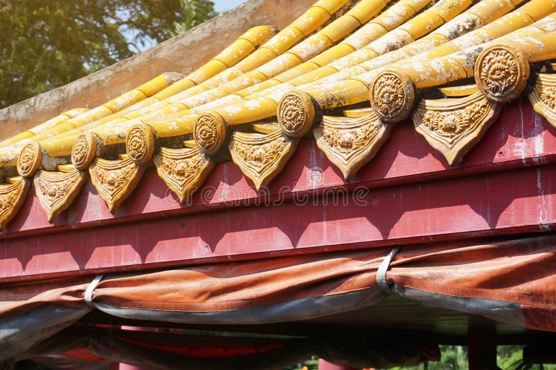 Tiles roof for old home. Close up tiles roof for old home royalty free stock photos