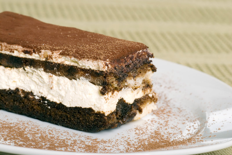 Download Close Up Tiramisu With Cocoa Powder On Green Table Stock Image - Image: 8385193