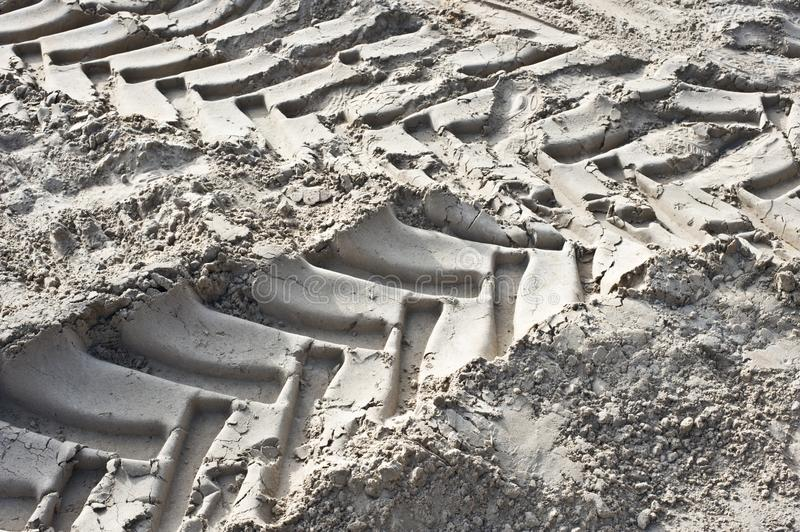 Close-up of tire track in sand stock photos