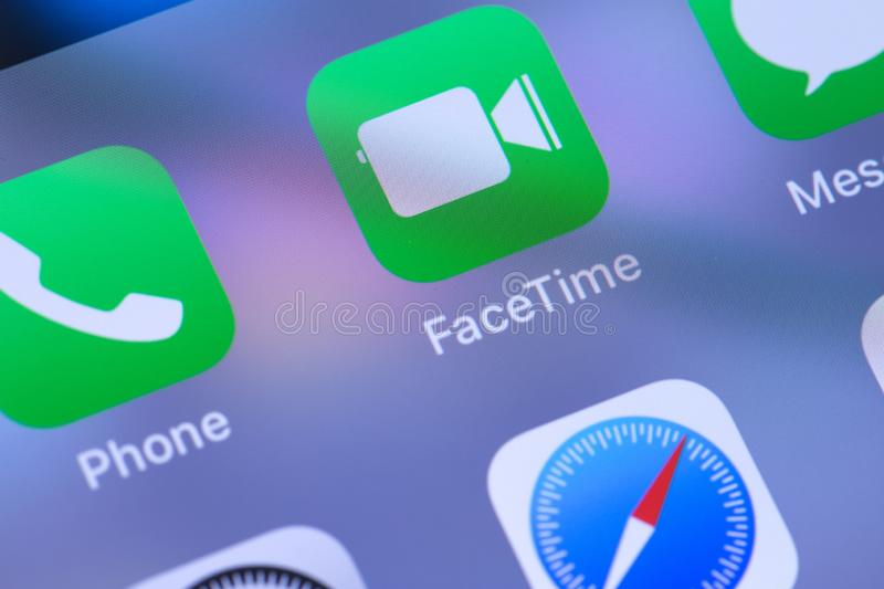 Close up to Apple FaceTime video chat app on the screen of an iPhone. Moscow, Russia - March 1, 2019 stock photos