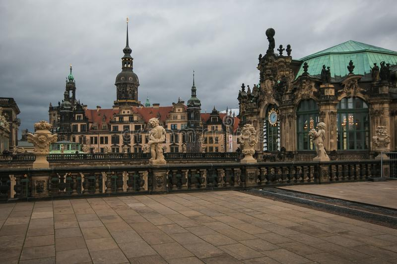View of the famous baroque Zwinger palace in the historic center of Dresden, Germany stock images