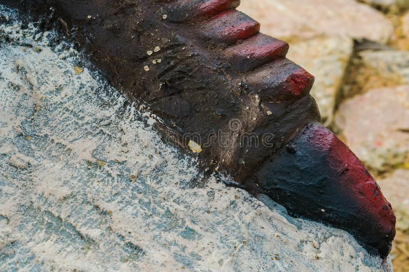 Close up to Colorful and patterns of dinosaur model surfaces. Close up to Colorful and patterns of  dinosaur model surfaces created with cement royalty free stock photos