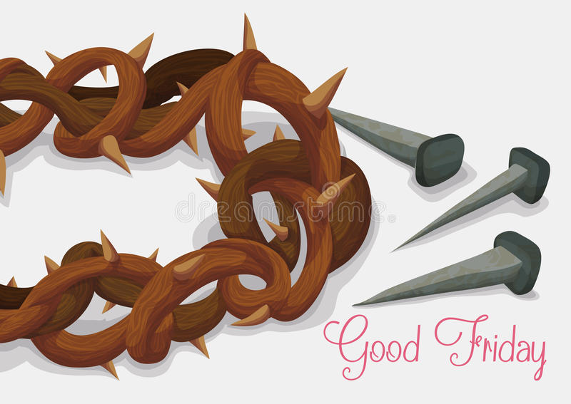 Close-up to Crown of Thorns and Rusty Nails for Good Friday, Vector Illustration stock illustration