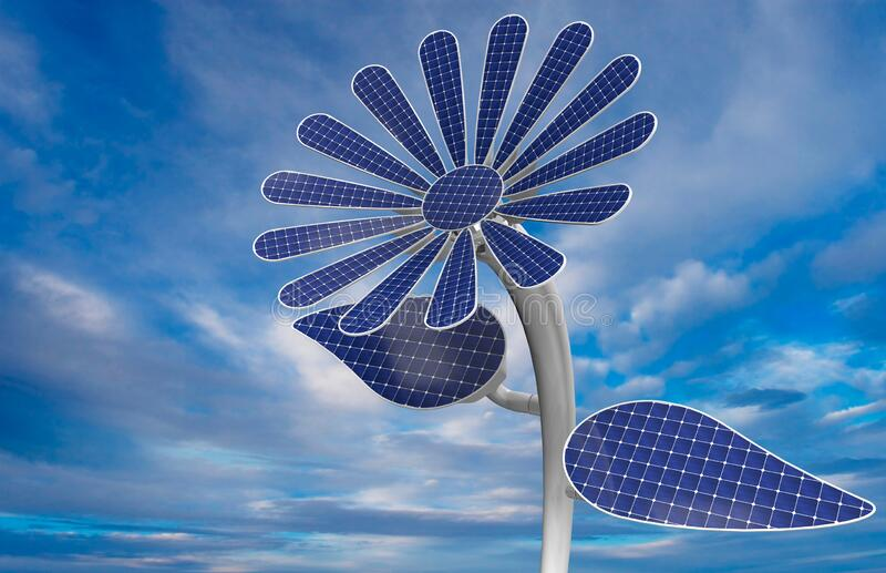 Close-up to a flower shaped solar panel with white petals, leaves and long stem with blue sky background. 3D Illustration royalty free stock photo