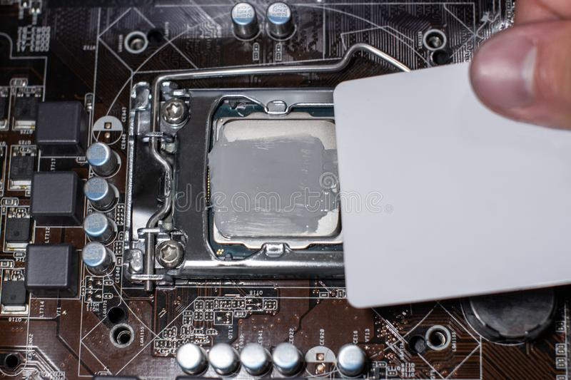 Close up to technician squeezing or application the thermal paste compound on the top of main cpu in the socket. Concept of royalty free stock images