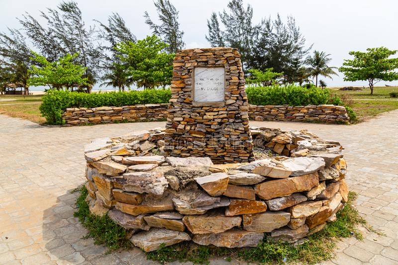 Close up of the Tomb of Mr. Lecqi slave trader in front of  Obafemi Awolowo Museum beach Lekki Lagos Nigeria. The tomb of Mr. Lecqi, a Portuguese slave trader on stock photo