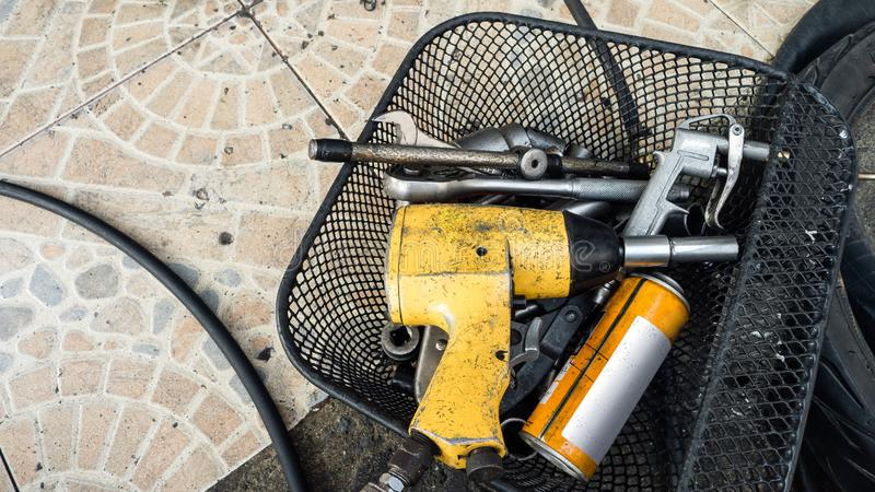 Close-up tools and repair equipment in garage. space. Close-up tools and repair equipment in garage. , copy space royalty free stock photo