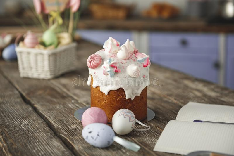 Savory easter bakery standing on the table. Close up of toothsome meal ready for eating. Focus on holiday conventional bread and eggs royalty free stock images