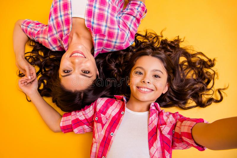 Close up top above high angle view photo beautiful she her models mom daughter caress weekend make take funky selfies royalty free stock image